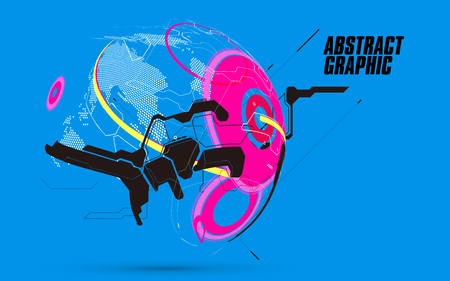 Abstract sphere graphics, futuristic concept lines, technological sense design.