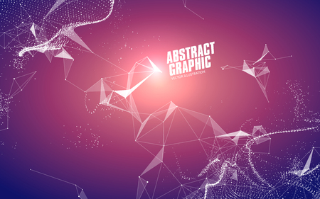 Abstract graphic consisting of points, lines and connection, Internet technology. Иллюстрация