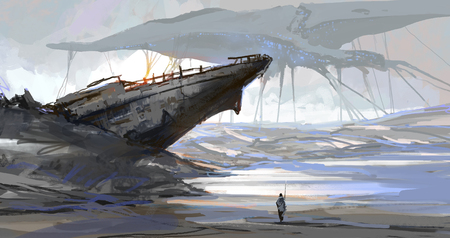 The ship that was stranded by the dry sea, the earth scene after the aliens invaded, digital illustration. Archivio Fotografico - 119428271