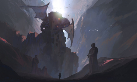 The knights in the canyon challenge the dragon, digital painting. Фото со стока