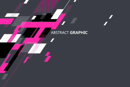 Abstract graphic stacked in geometric shapes. Çizim