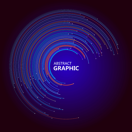 Abstract circle graphic composed of colorful circle lines, vector illustration.
