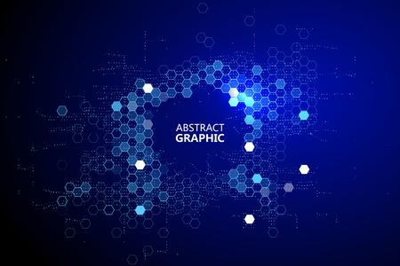 Matrice d'innombrables blocs, big data, concept d'ordinateur quantique, cloud computing.