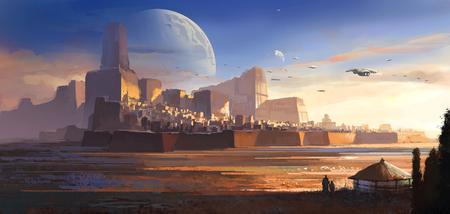 Desolate alien, desert castle, science fiction illustration, digital illustration, 3D rendering. Banco de Imagens