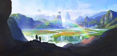 Natural wonders, paradise, digital painting illustration. Фото со стока