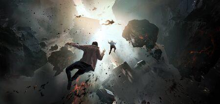 World collapse, doomsday scene, digital painting. Stock Photo