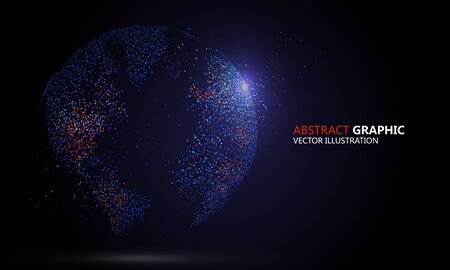 Earth composed with colorful particles  illustration. Çizim