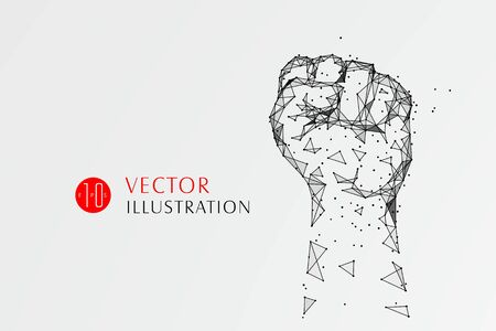 The symbol of the fist composed of the dotted line symbolizes the moral of the struggle and progress, vector illustration.