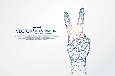 Victory hand shape, concept graphics, vector illustration. Archivio Fotografico - 131837445