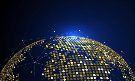 The golden dots make up the world, symbolizing the thriving world economy,  illustration
