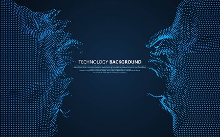 Wavy abstract graphic design, technology background. 向量圖像