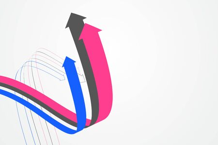 Abstract graphics composed of staggered arrows symbolize the meaning of cooperation and development.