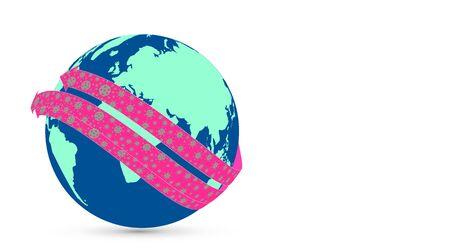Graphic design with viruses raging around the world.
