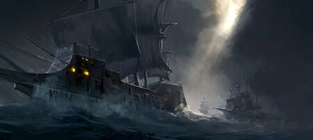 Digital painting of ancient warships traveling on rough seas. Reklamní fotografie