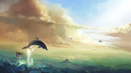 The sea under the sun, jumping dolphins, digital illustration.