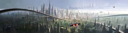 An aerial view of the city with a futuristic vision, digital painting.
