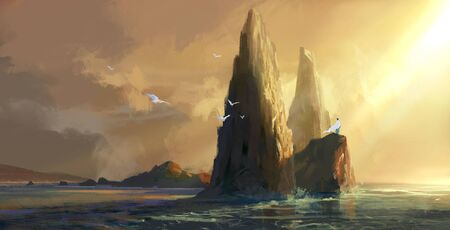 People in white clothes stand on the rock by the sea at dusk, looking into the distance, digital painting.