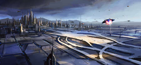 A large transportation hub next to the city, a digital illustration of the sense of future technology.