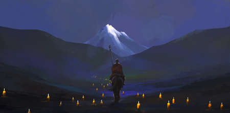 The candlelight pilgrimage road, digital painting. Reklamní fotografie