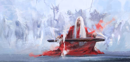 A master of the world playing the guqin, digital painting.