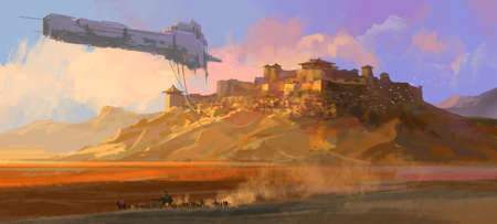 The dilapidated spaceship floating above the Gobi, digital painting. Reklamní fotografie