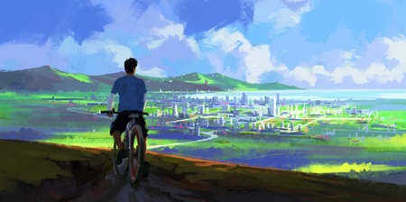 A person riding a bicycle looking into the distance, digital painting.