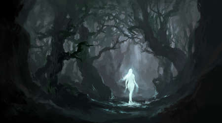 Angel in the quiet primeval forest, digital painting.