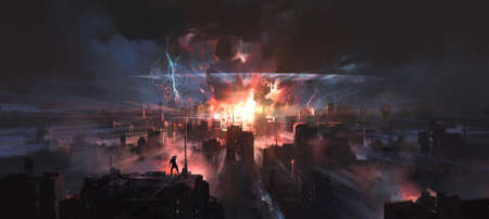 The moment the city was hit by a nuclear bomb, digital painting. Reklamní fotografie