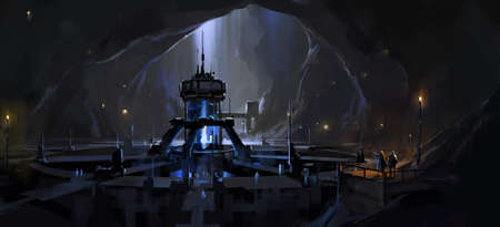 Secret underground nuclear reactor facility, digital science fiction illustration.
