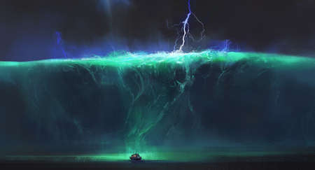 Small boat facing huge ocean waves, fantasy illustration.