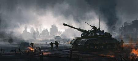 Cruel war scenes, digital painting. Reklamní fotografie