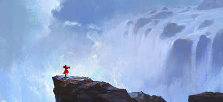 Red swordsman practicing in front of the waterfall, digital painting, 3D illustration.
