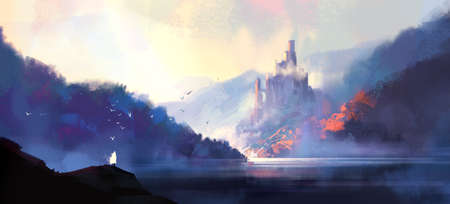 Fantasy style medieval castle, digital illustration.
