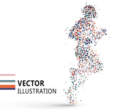 Running man composed of colored dots, vector illustration. Ilustrace