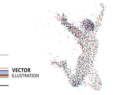 Colored polka dots composed of jumping people, vector illustration.