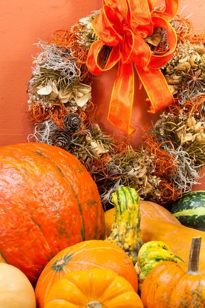 Autumn wreath with orange pumpkins Stok Fotoğraf
