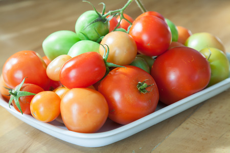 Different stages of ripening tomatoes on square serving plate