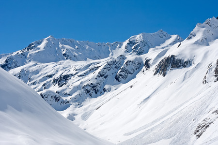 Austrian Alps with avalanches