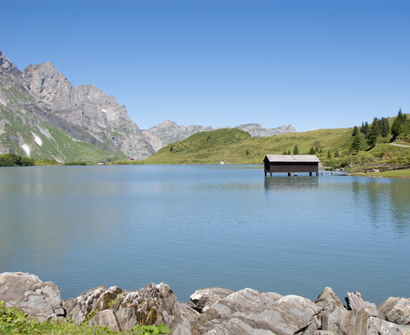 Small Swiss lake in the Alps Stok Fotoğraf