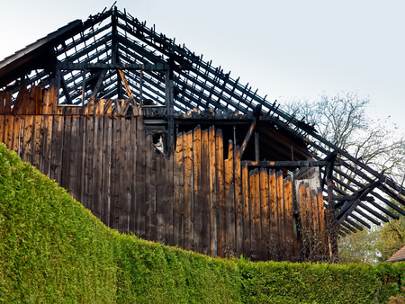 burned out: Burned out old wooden barn
