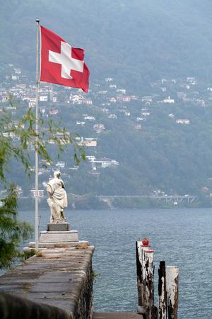 Swiss flag on an island pier