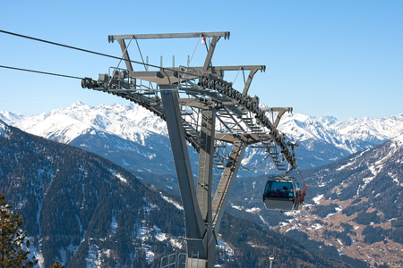 Metal gondola in the Austrian Alps Stok Fotoğraf - 50462904