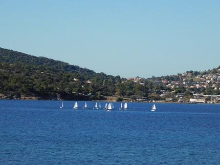 Sail boats at Anavyssos bay in Attica, Greece