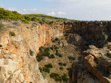 A large ground depression called Chaos, near Lavrio, in Attica, Greece