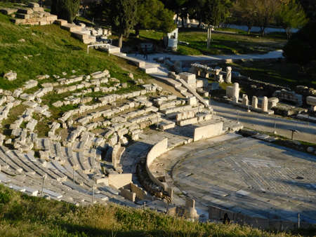 January 2019, Athens, Greece. View of the ancient theater of Dionysus, on the south slope of the Acropolis