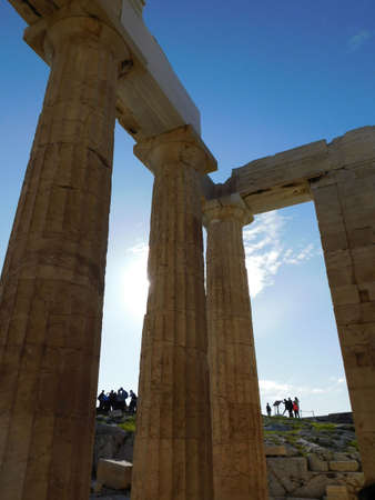 Inside view of the monumental gateway to the ancient Acropolis of Athens, or Propylaea, in Greece