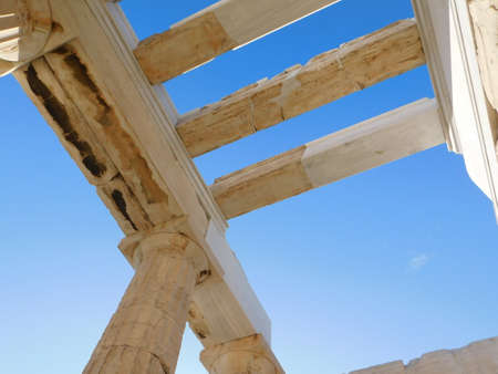 View of the ceiling of the monumental gateway to the ancient Acropolis, or Propylaea