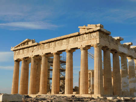 View of the Parthenon, the ancient temple of goddess Athena, under restoration, in Athens, Greece