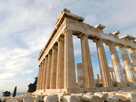 View of the Parthenon, the ancient temple of goddess Athena, in the morning light, in Athens, Greece