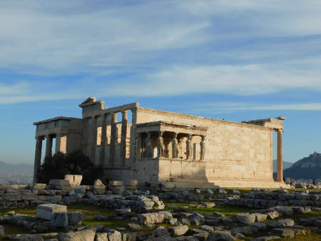 The Erectheion temple, in the ancient Acropolis, under the morning light, in Athens, Greece